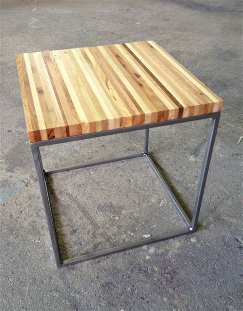 diy wood end table recycled pallet wood and steel end table pallet