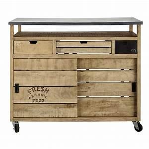 Meuble Bar Maison Du Monde : meuble de bar roulettes en manguier l 120 cm farmers ~ Nature-et-papiers.com Idées de Décoration