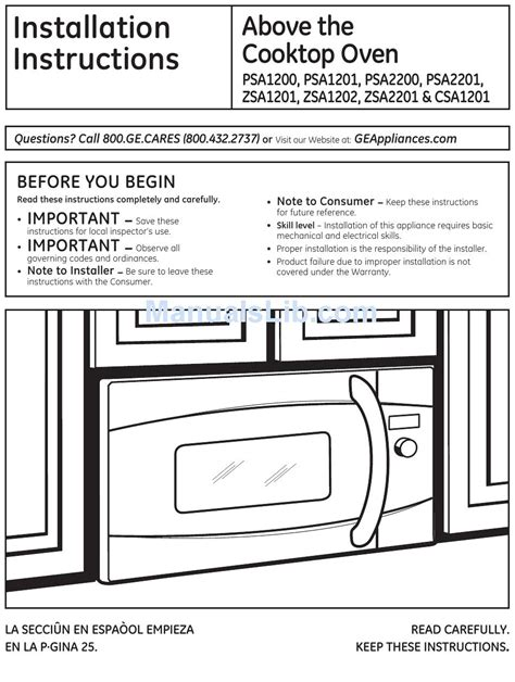 ge psarss installation instructions manual   manualslib