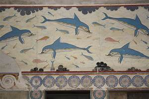 fresco painting | detail of the dolphin fresco, the Minoan ...
