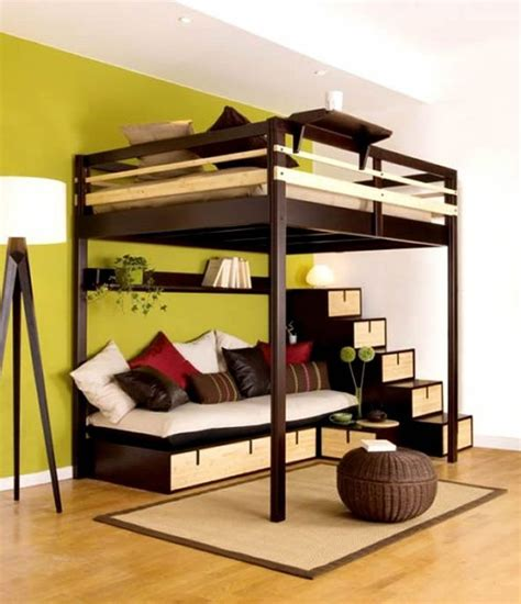 queen size brown stained mahogany wood loft bed