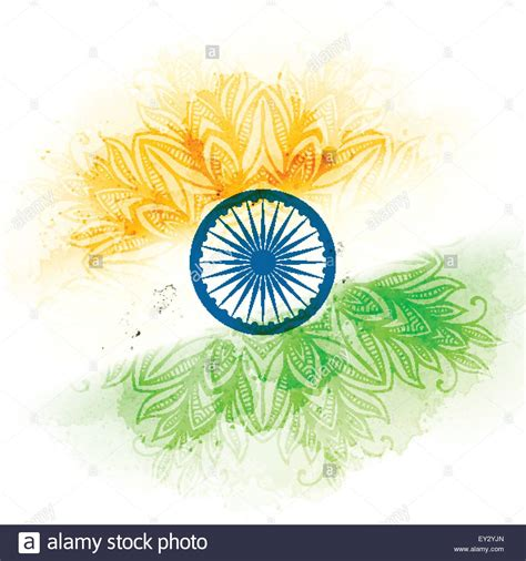 Vector indian flag in watercolor background. Concept