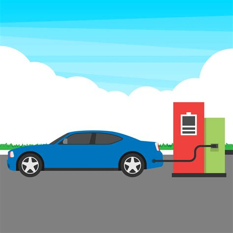 Electric Car Search by Electric Car Charging Station Concept Illustration