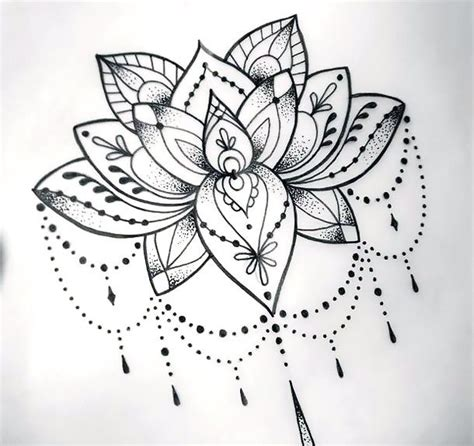 Cool Dotwork Lotus Tattoo Design