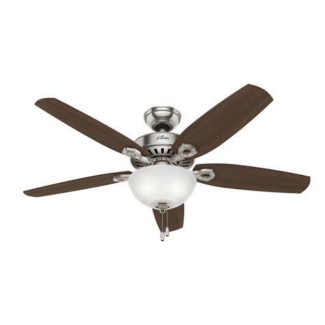 52 brushed nickel ceiling fan shop hunter builder deluxe 52 in brushed nickel indoor