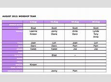 BEFC Worship Team August Worship Team Schedule