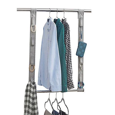 hanging closet rod studio 3b closet rod hanging extension with fabric straps