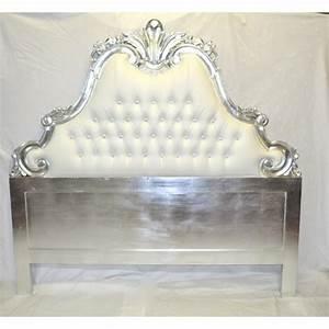 Lit Style Baroque : tete de lit baroque 180 cm en bois sculpte argente et aspect cuir blanc ~ Teatrodelosmanantiales.com Idées de Décoration