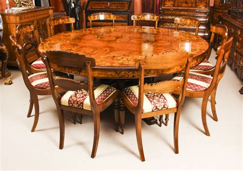 Using the above dimensions, a rectangular dining table size for six would be calculated at around 78 x 40 inches (203 x 102cm), or 96 x 54 inches (244 x 137cm) for a more comfortable setting. Vintage 6ft 6 Inch Diameter Round Marquetry Dining Table & 10 Chairs   Vinterior