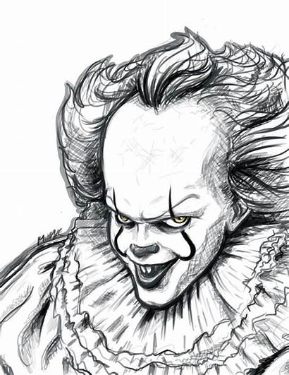Pennywise Sketch Drawings Sketches Scary Pencil Creepy