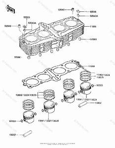 Kawasaki Motorcycle 1981 Oem Parts Diagram For Cylinder  Pistons   U0026 39 81  E3