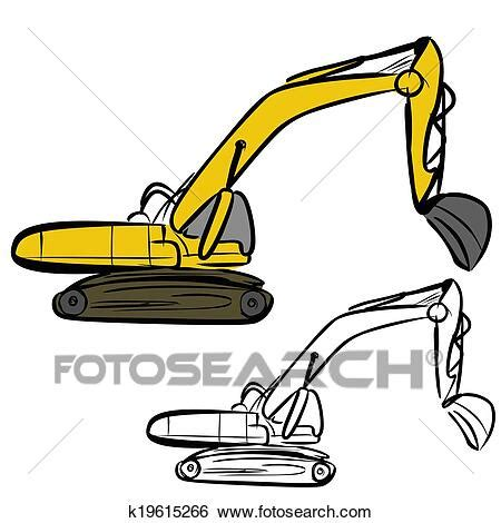 clip art  excavator  search clipart illustration posters drawings  eps vector