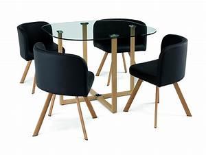 DECO IN PARIS Ensemble Table 4 Chaises Encastrable Noir