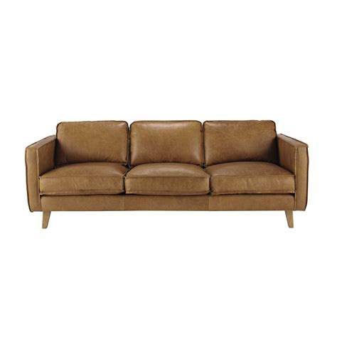 sofa canape 3 seater leather vintage sofa in camel maisons