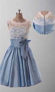 Lace Vintage Cute Bow Knot Short Bridesmaid Dresses KSP289 ...