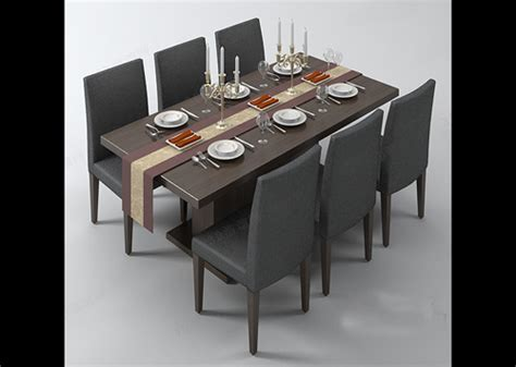 Dining Table And Chairs 3d Model Free Download » Dining