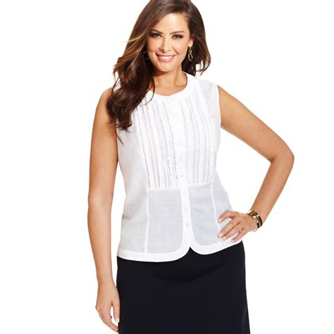 jones of york blouses jones york signature plus size sleeveless ruffled