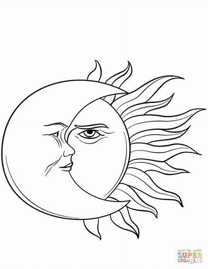 Coloring Moon Sun Luna Sol Colorear Dibujos