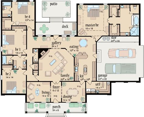 4 bedroom country house plans country style house plans 3042 square home 1