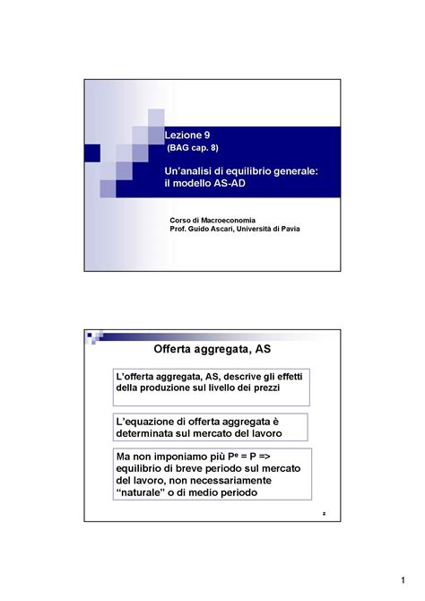 dispense macroeconomia curva di offerta aggregata dispense