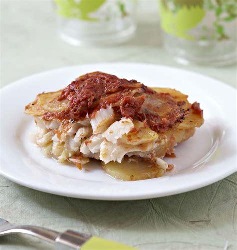 gratin de morue et pommes de terre à la tomate les