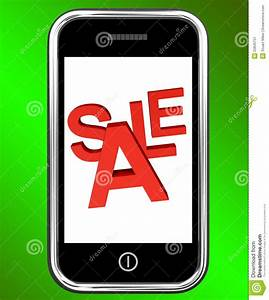 Mobile Phone Sale Screen Shows Online Discounts Stock ...