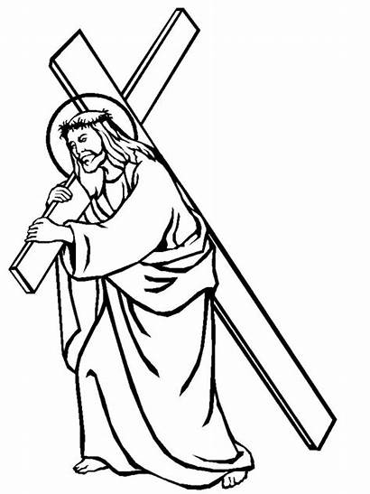 Jesus Cross Clipart Printable Coloring Pages Stations