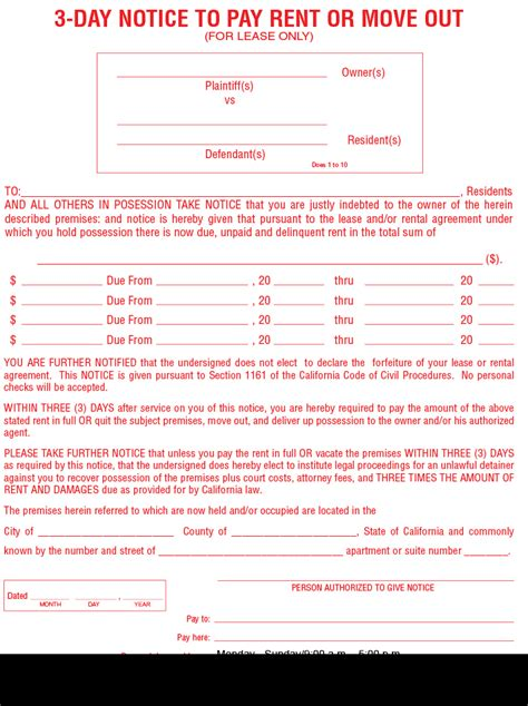 3 Day Notice To Pay Rent Or Quit  Free Lease Eviction Form