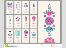 Floral Mini Calendar 2016 Stock Vector Image 61256152