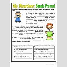 My Routine Simple Present Tense Worksheet  Free Esl Printable Worksheets Made By Teachers
