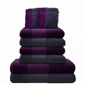 Handtücher Set Grau : 10 tlg handtuch set 2 badet cher 4 handt cher 4 waschhandschuhe grau lila ebay ~ Indierocktalk.com Haus und Dekorationen
