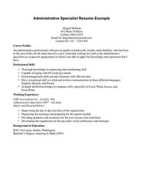 administrative specialist resume exle