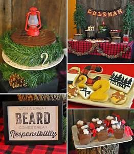Kara's Party Ideas Little Lumberjack 2nd Birthday Party