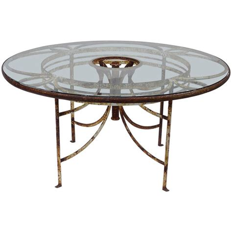 1930s iron and glass outdoor garden dining table 57