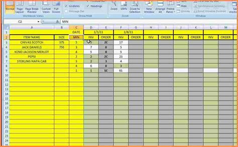 inventory tracking spreadsheet template excel