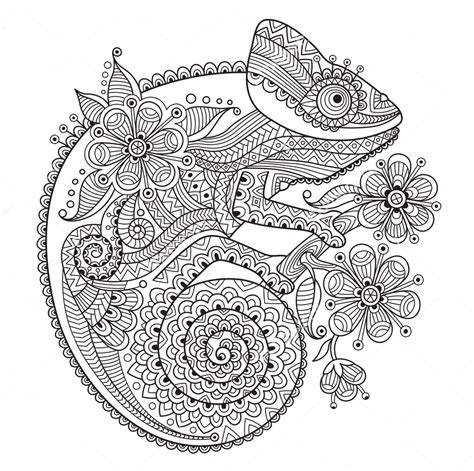 chameleon zentangle coloring page colorir pinterest