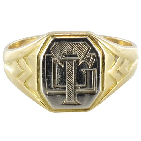 deco s two color gold signet ring for sale at 1stdibs