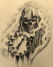 Grim Reaper Holding Clock Tattoo Drawings
