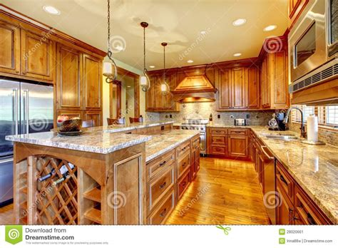luxury wood kitchen  granite countertop stock image