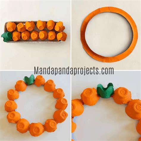 egg carton pumpkin wreath manda panda projects