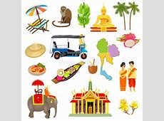 Thailand Icons Set stock vector Illustration of boats