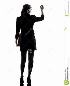 Business Woman Writing Holding Folders Files Silhouette ...