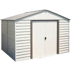 arrow 10 ft x 8 ft vinyl coated steel storage shed lowe