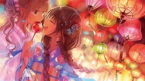Download 1920x1080 Anime Girls Festival Candy Lantern