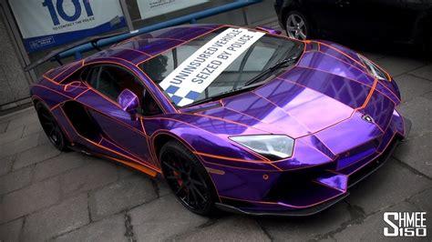 seized purple chrome lamborghini aventador  london