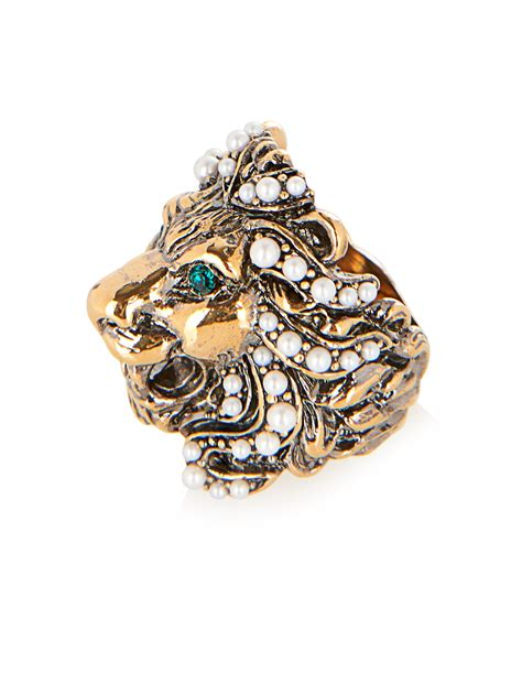 gucci crystal pearl embellished lion ring green