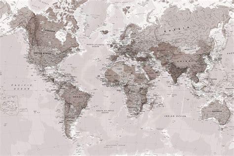 Neutral Shades World Map Wallpaper Mural   Murals Wallpaper