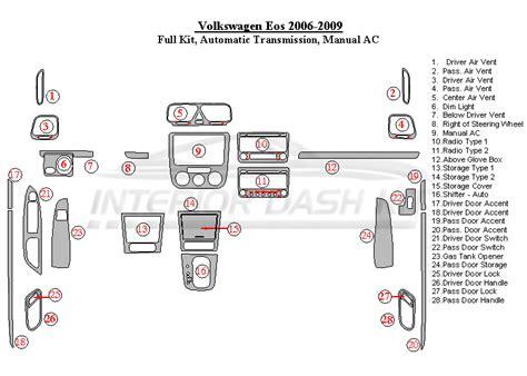 free service manuals online 2007 volkswagen eos parking system volkswagen eos 2007 2009 dash trim kit full kit automatic transmission manual ac interior