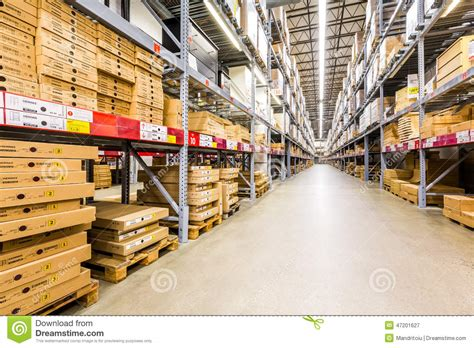 warehouse aisle in an ikea store editorial photography