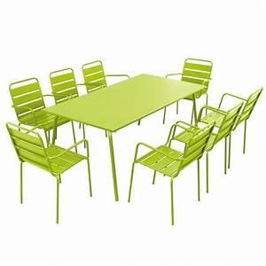 Table Salon Metal : table et chaises de terrasse en acier 8 places mobeventpro ~ Teatrodelosmanantiales.com Idées de Décoration